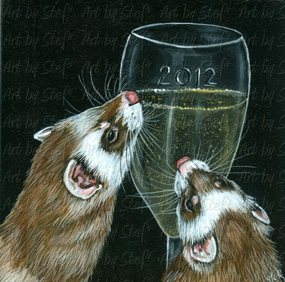 Ferrets; 2012; 2012 Painting on Masonite; Stef