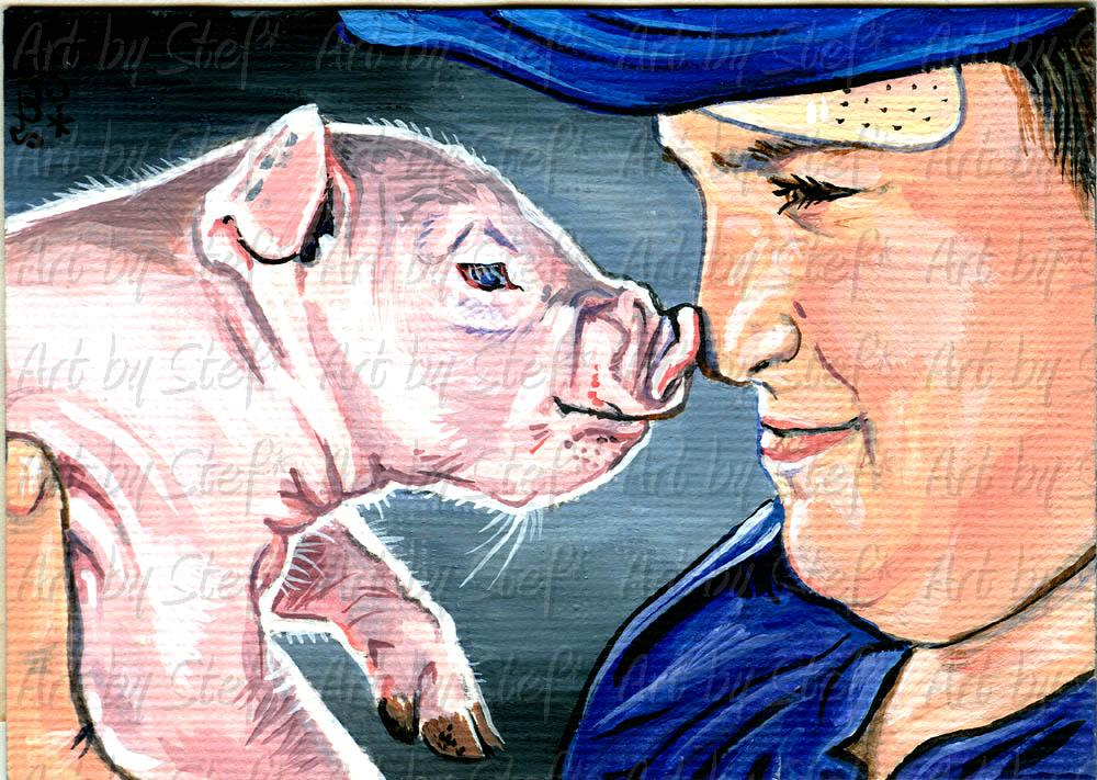 People; A Boy and His Pig; ACEO; Stef