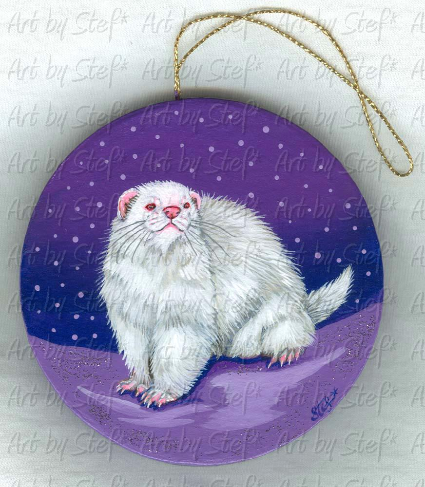 Collectables; Albino Ferret/Lavender Snow Ornament; Painting on Paper Mache; Stef