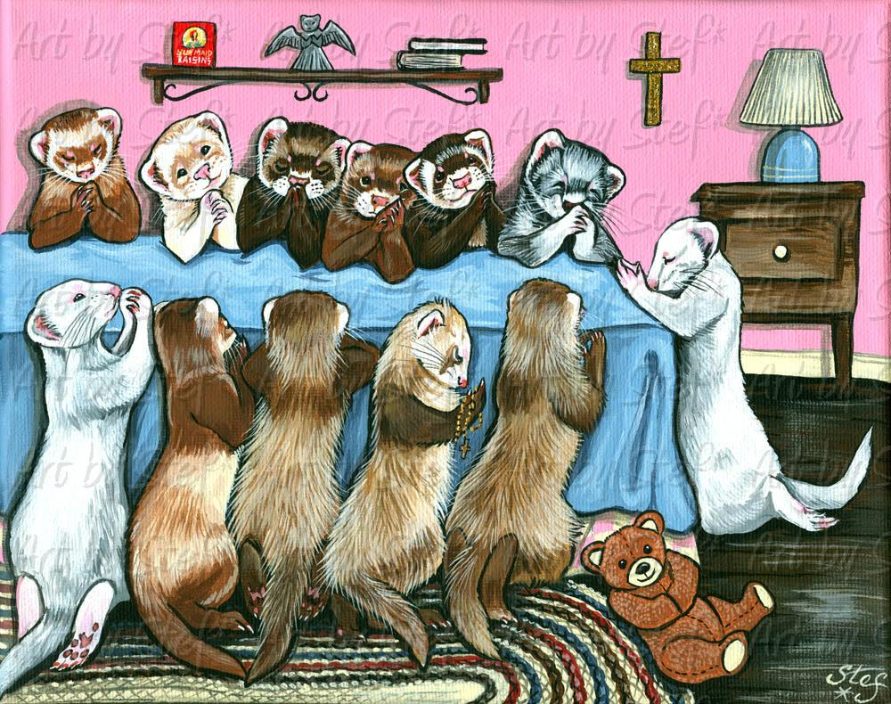"Ferrets; Ally's Prayer; Acrylic on 8""x10"" canvas; Stef"