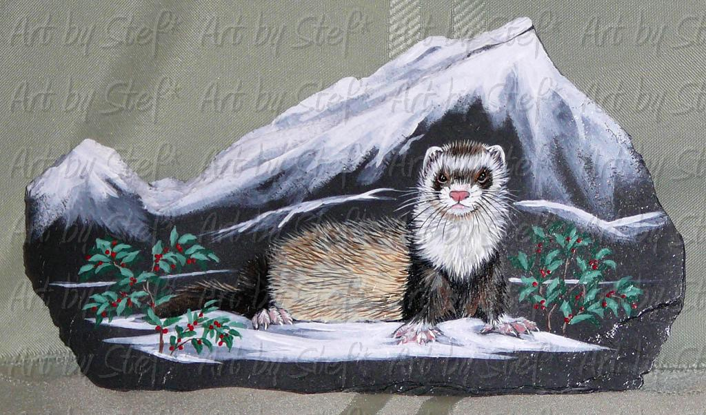 Collectables; Alpine Ferret; Hand Painted Slate; Stef