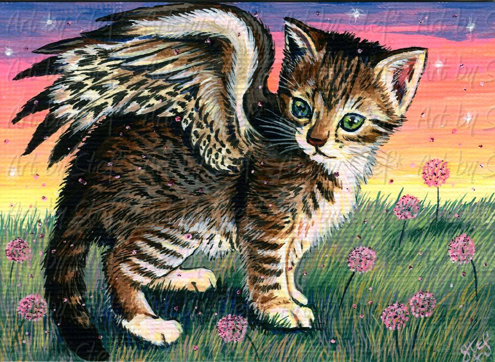 Whimsical; Angel Kitten; Acrylic ACEO; Stef