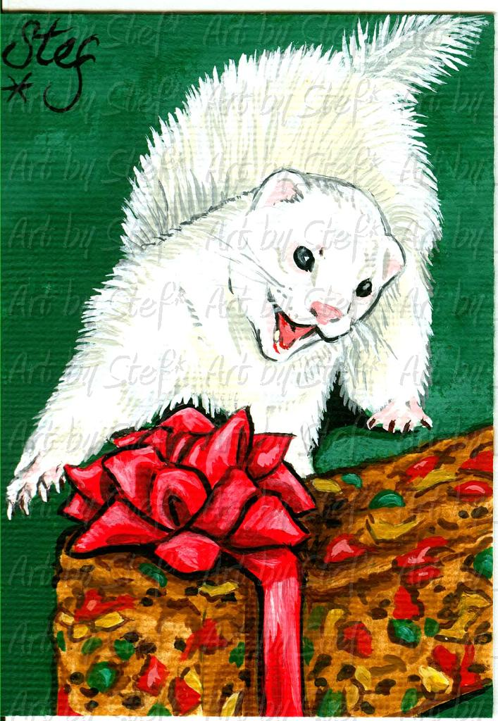 Ferrets; Attack of the Fruitcake; Acrylic on canvas ACEO; Stef