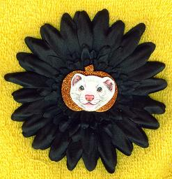 Collectables; Autumn Clip On Black Flower DEW Ferret; Clip On Rosette; Stef