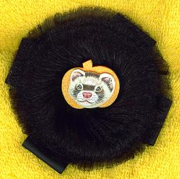 Collectables; Autumn Pumpkin Clip On Black Bow; Clip On Rosette; Stef