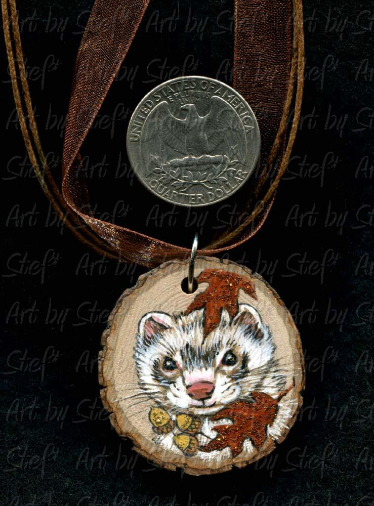 Collectables; Autumn Woods Ferret Face Rust Pendant; Handpainted Wood Pendant; Stef