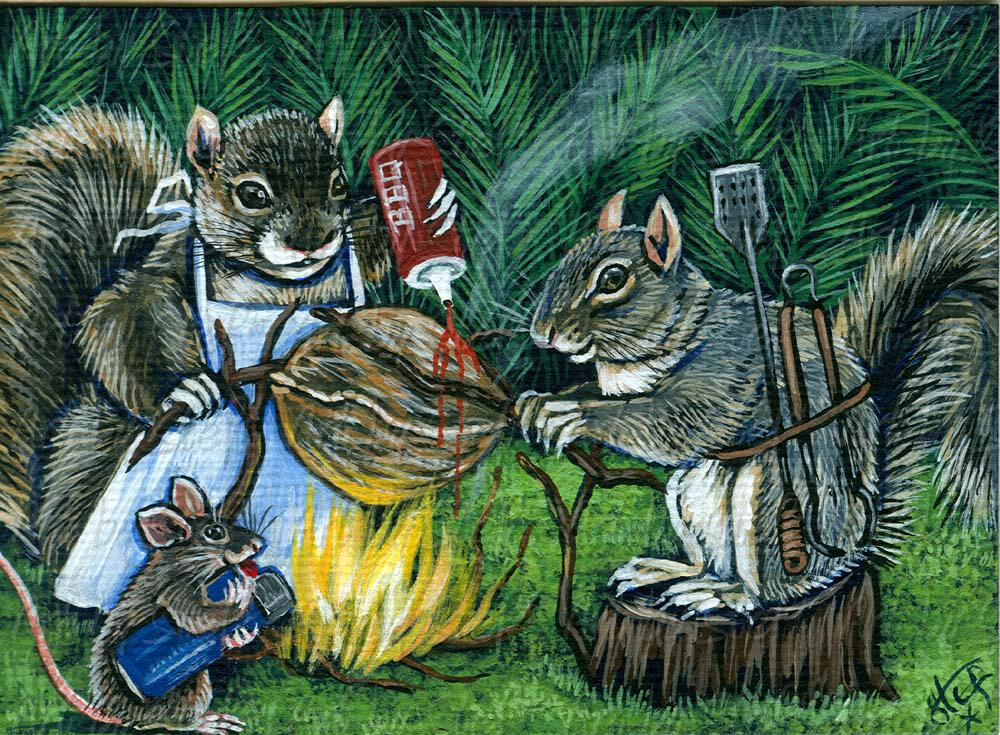 Whimsical; Barbecue Nuts; Acrylic ACEO; Stef