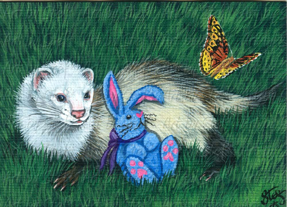 Ferrets; Blue Bunny, Fritillary, And Me; Acrylic ACEO; Stef