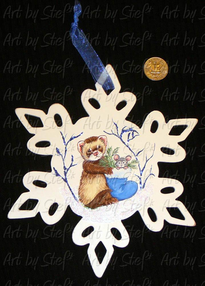 Collectables; Blue Christmas Ferret and Mouse; Handpainted Wooden Snowflake.; Stef