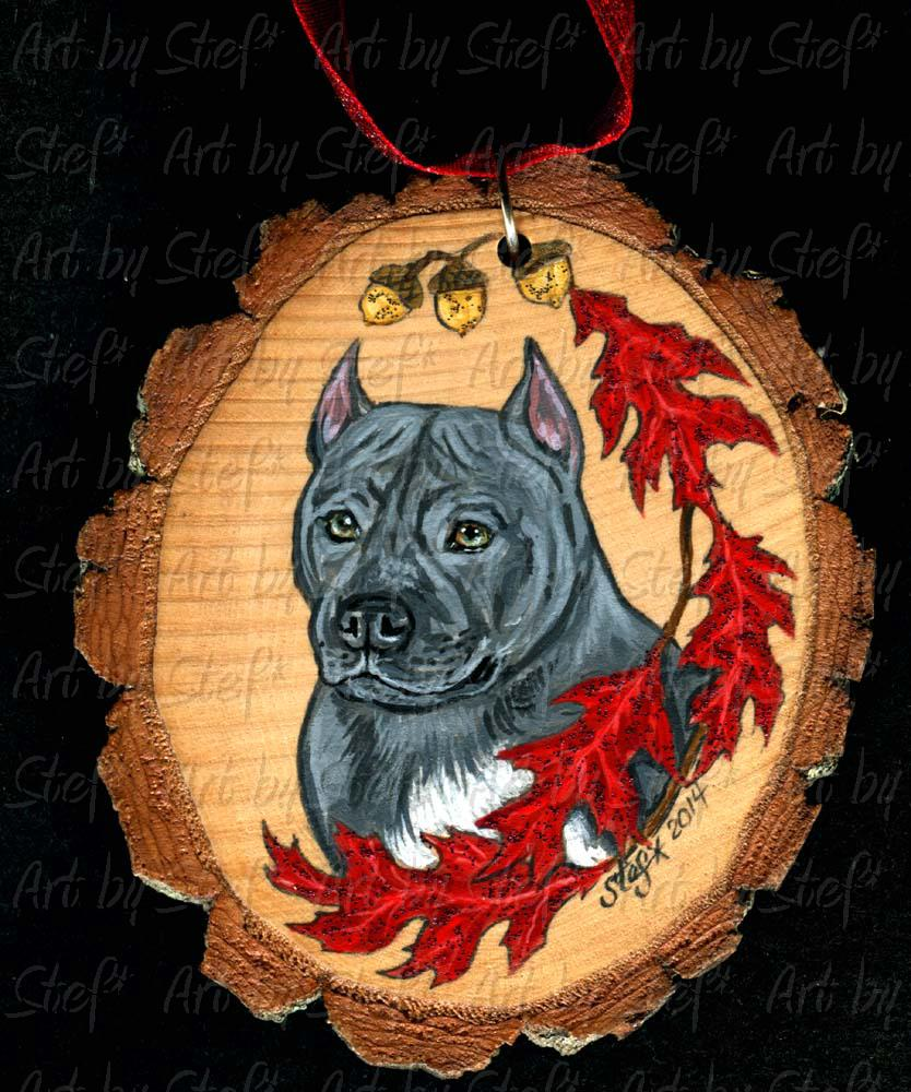Collectables; Blue Pit Bull Ornament; Wood ornament; Stef