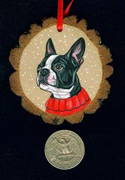 Collectables; Boston Terrier Wood Slice Ornament; Handpainted Wood Slice; Stef