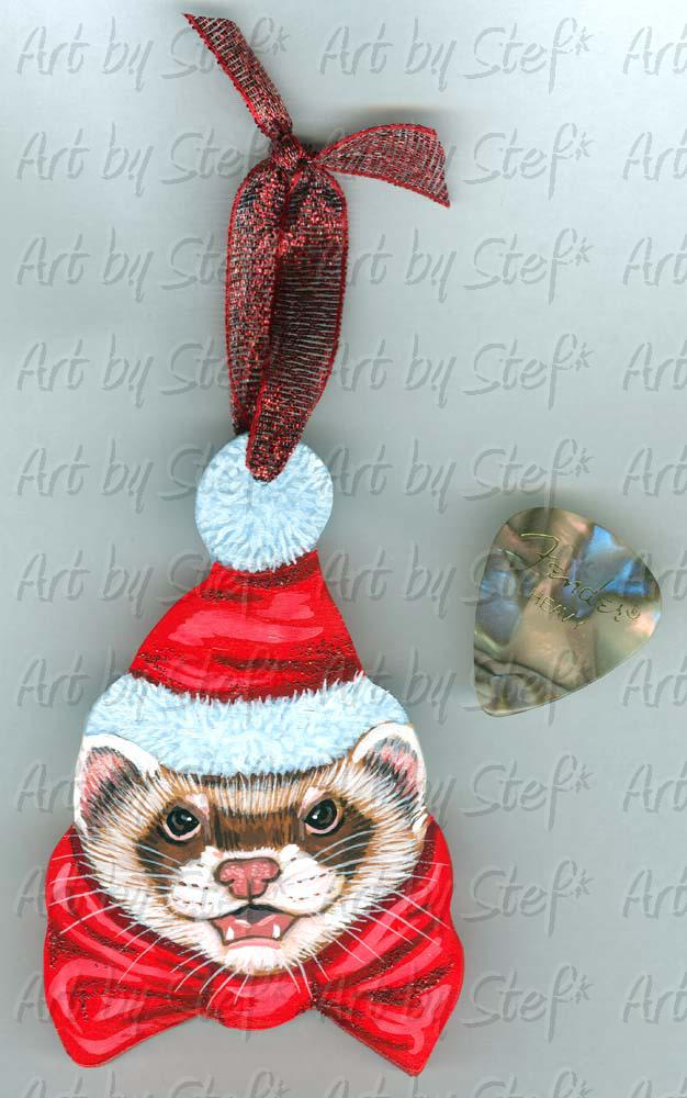 Collectables; Bowie Ferret Christmas Ornament; Hand Crafted Ornament; Stef