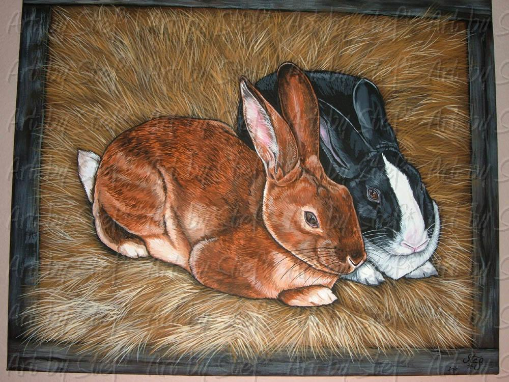 "Other Animals; Bunny Hutch; Acrylic on canvas 16""x20""; Stef"
