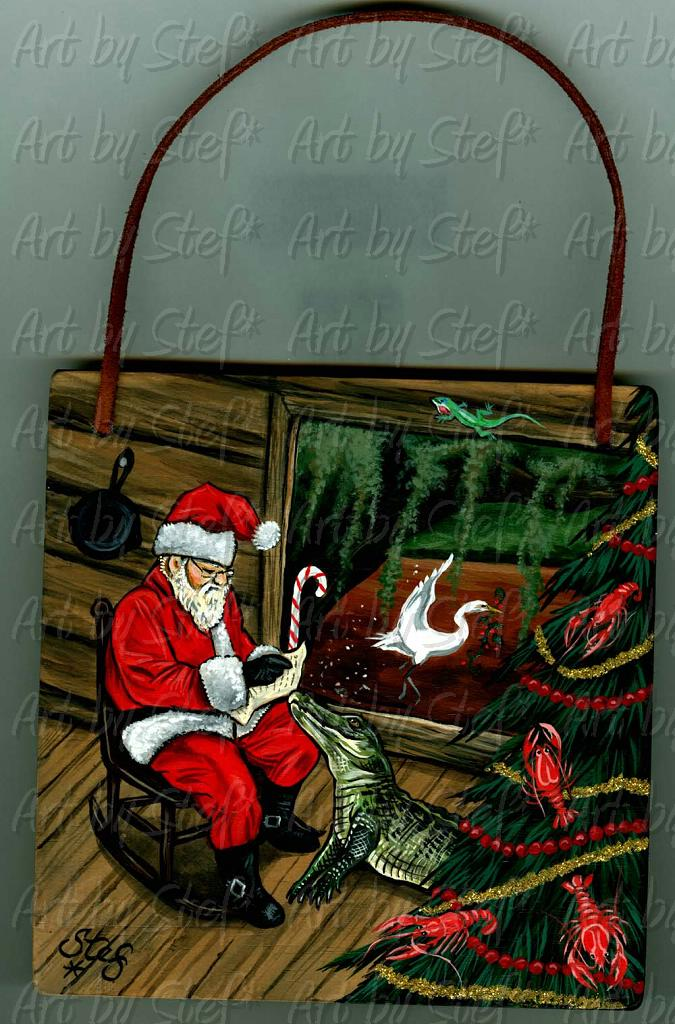 Whimsical; Cajun Claus; Acrylic on wood plaque; Stef
