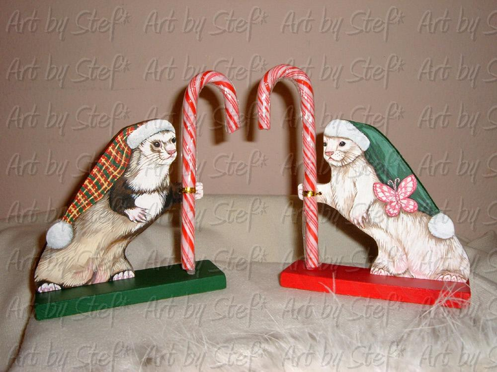 Ferrets; Candy Cane Holders; Acrylic on handmade wood, sealed; Stef