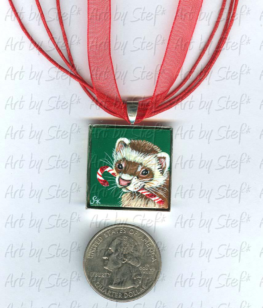 Collectables; Candy Cane Kid Pendant Green; Handpainted Ceramic Tile; Stef