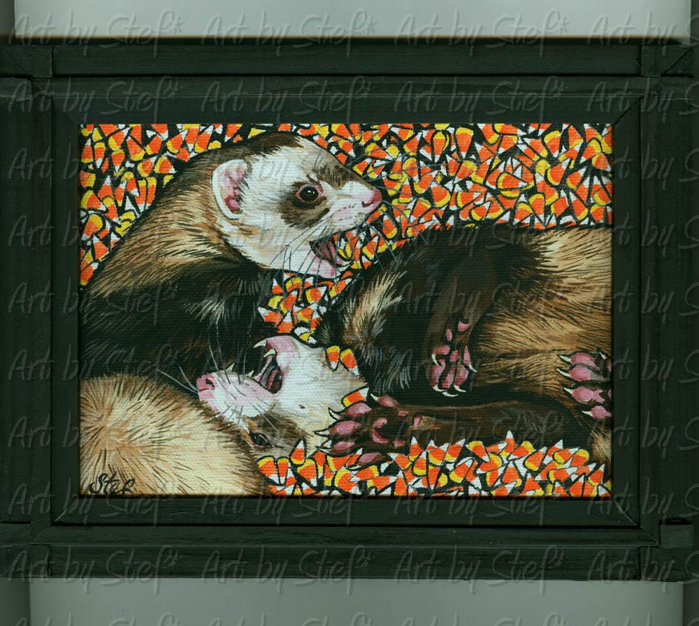 "Ferrets; Candy Corn Ferret; Acrylic on 5""x7"" canvas panel, framed; Stef"