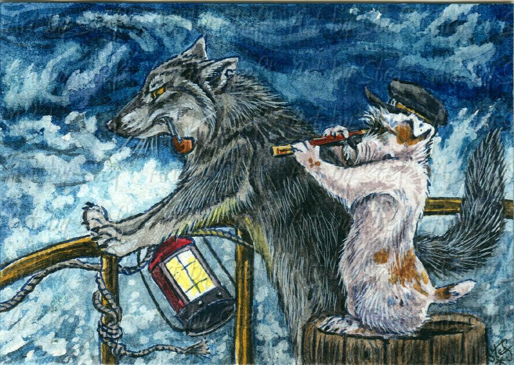 Whimsical; Captain Sea Wolf Salty Dog; ACEO; Stef
