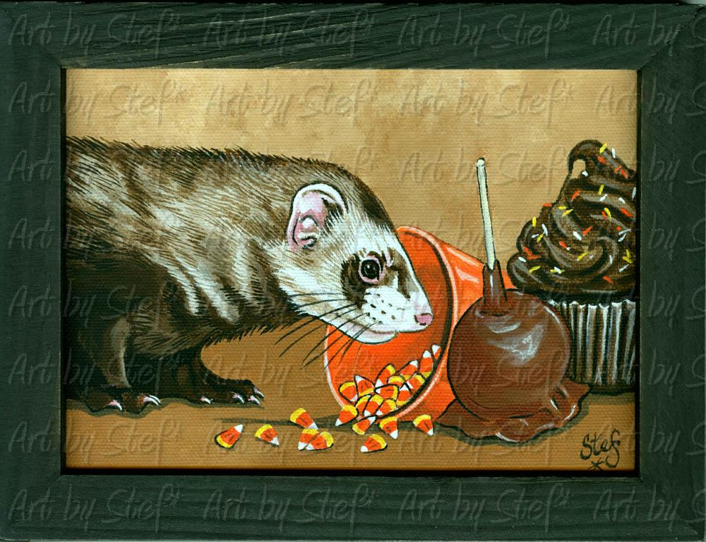 "Ferrets; Caramel Apple Ferret; Acrylic on 5""x7"" canvas; Stef"