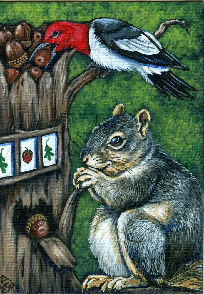 Whimsical; Casino Nuts; Acrylic ACEO; Stef