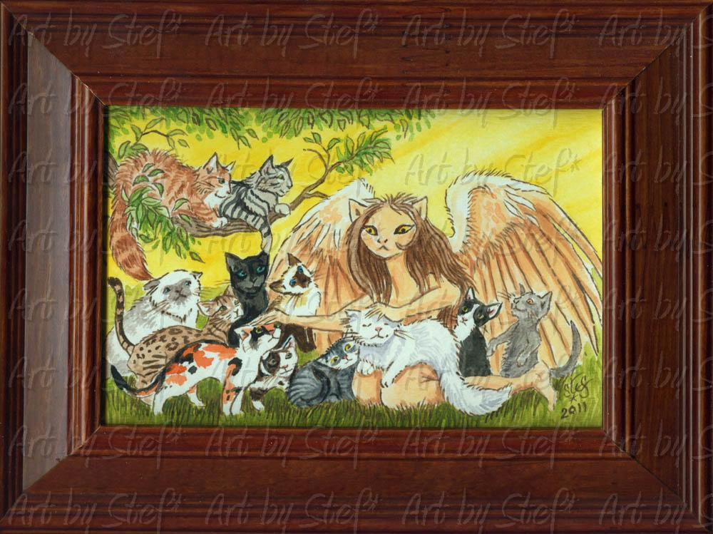 Whimsical; Cat Rescue Angel; Watercolor; Stef