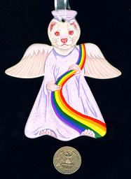 Collectables; Ceramic Memory Angel Albino; Handpainted Ceramic Ornament; Stef