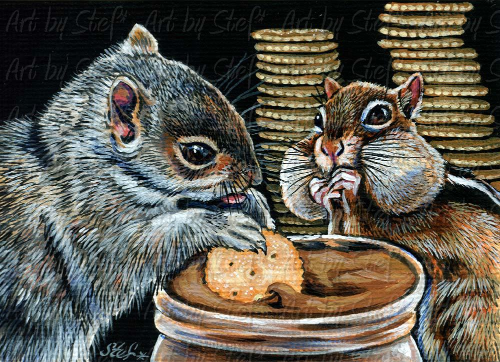 Whimsical; Chock Fulla Nuts; Acrylic ACEO; Stef