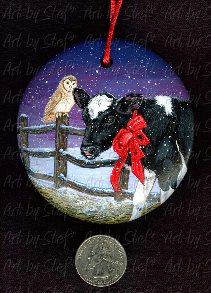 Collectables; Christmas Calf; Handpainted Ceramic Ornament; Stef