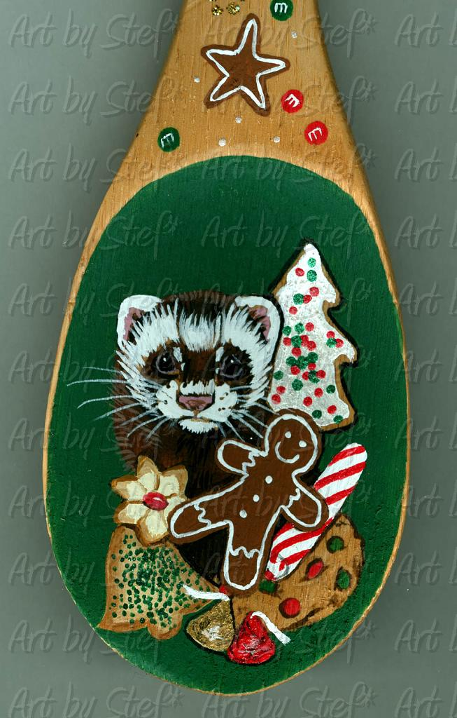 Ferrets; Christmas Cookies; Acrylic on wooden spoon; Stef