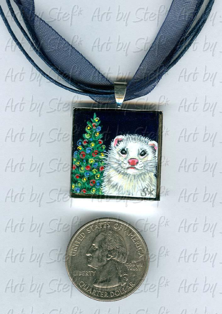 Collectables; Christmas Tree Pendant; Handpainted Ceramic Tile; Stef
