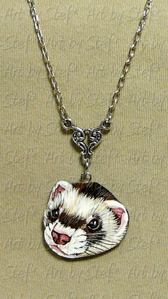 Collectables; Clay Ferret Pendant; Handcrafted Pendant; Stef
