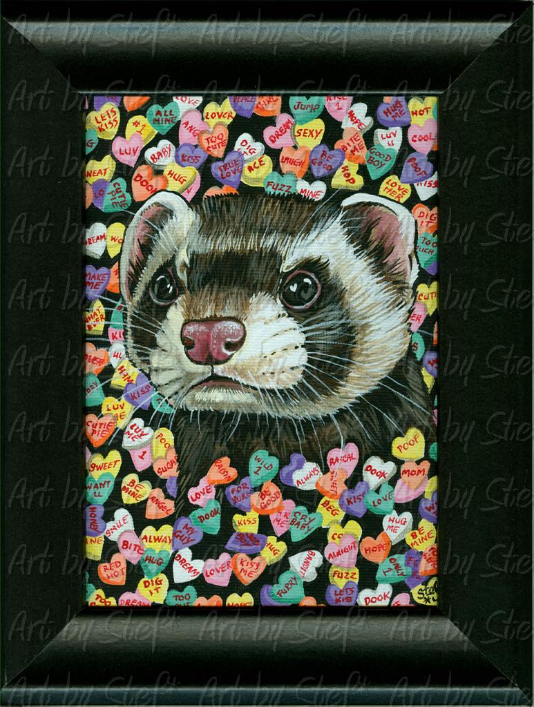 "Ferrets; Conversation Starter; Acrylic on 5""x7"" canvas panel, framed; Stef"