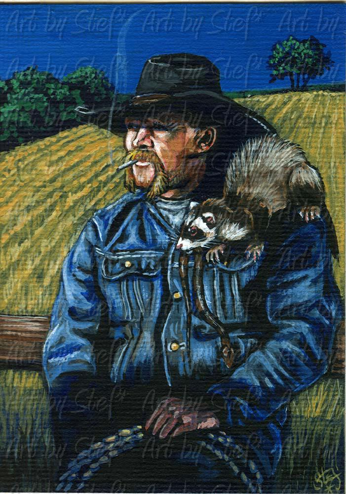 People; Cowboy and Ferret; Acrylic ACEO; Stef