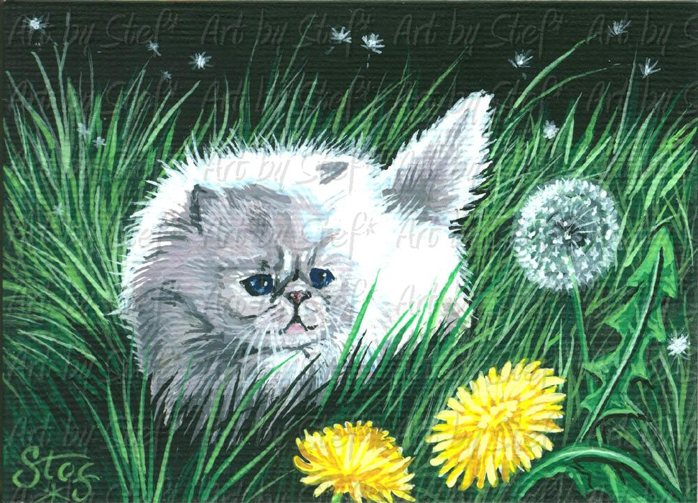 Other Animals; Dandelion Puff; Acrylic on canvas ACEO; Stef