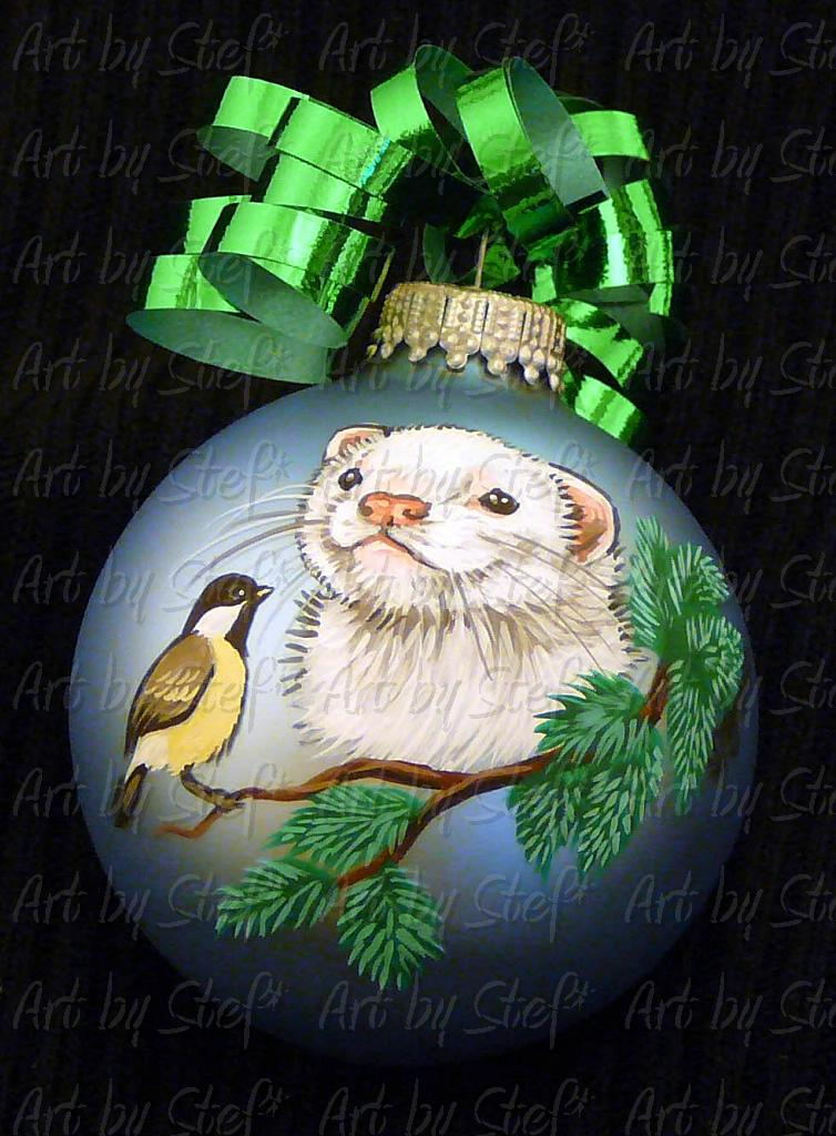 Collectables; Dark Eyed White Ferret Christmas Ball; Handpainted Ornament; Stef