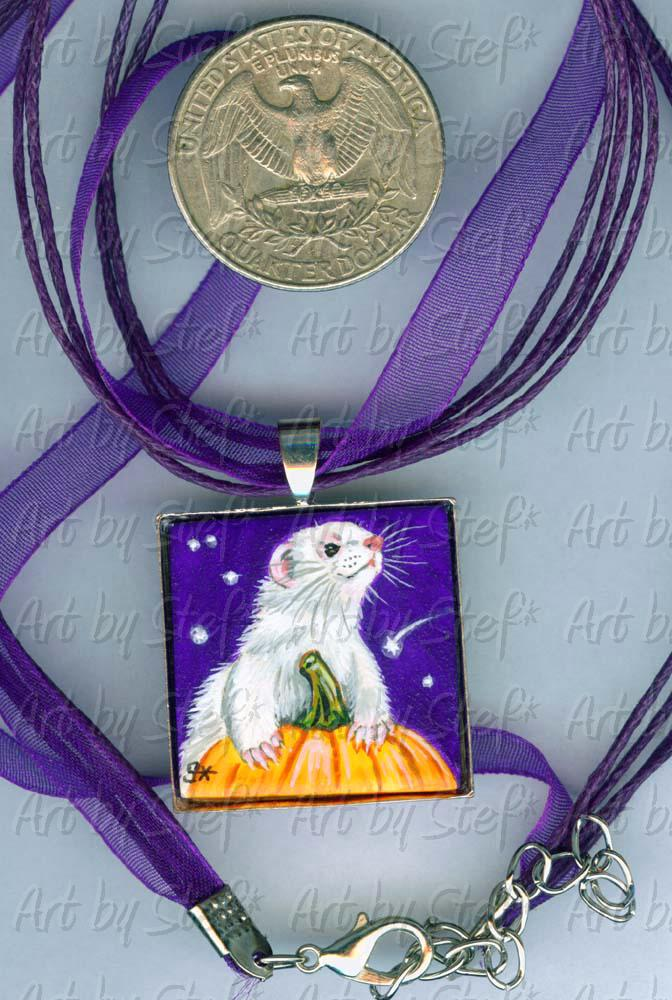 Collectables; Dark Purple Fall Tile Necklace; Handpainted Ceramic Tile; Stef