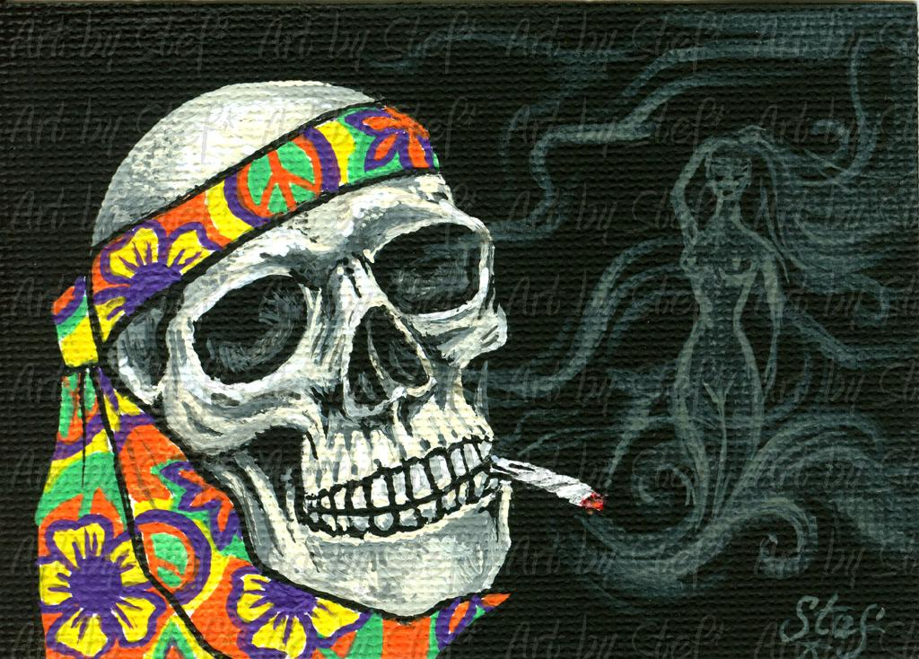 Whimsical; Deadhead Daze, Smoking Bones; Acrylic on canvas ACEO; Stef