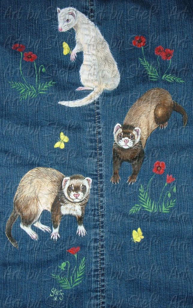 Ferrets; Denim Jacket - Detail; Acrylic on denim; Stef