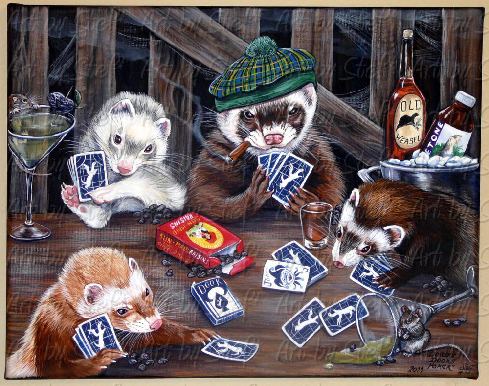 Whimsical; Double Dooks Poker; Acrylic on Canvas; Stef