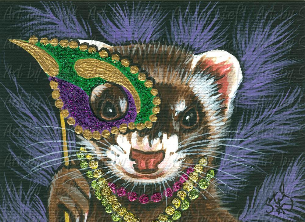 Collectables; Double Masked Mardi Gras Ferret; Acrylic ACEO Painting; Stef