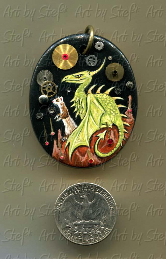 Collectables; Dragon Ferret Medallion; Steampunk pendant; Stef