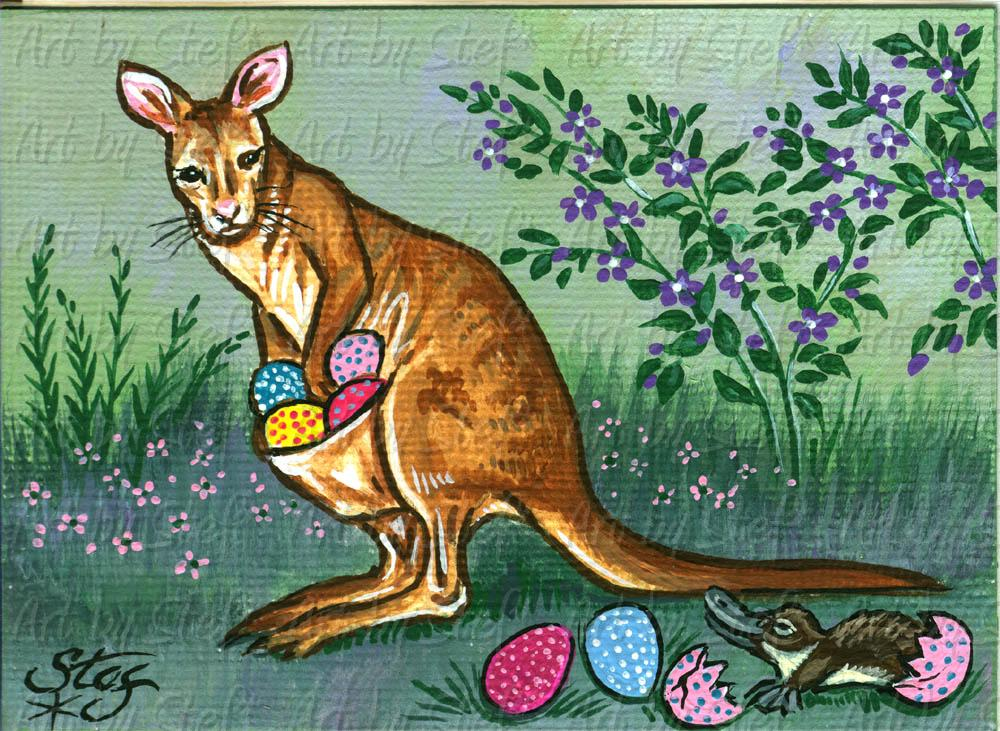 Other Animals; Easter Wallaby; Acrylic on canvas ACEO; Stef