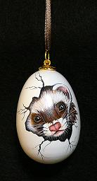 Collectables; Eggscaping Ferret Wooden Egg; Hanging Pysanky Egg; Stef