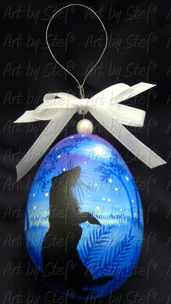 Collectables; Evening Blue Tanzanite Colors Egg; Hand Painted Goose Egg; Stef