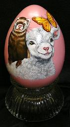 Collectables; Faux Ostrich Egg Ferret and Lamb; Pysanky Egg; Stef