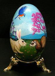 Collectables; Ferret and Bunny Real Goose Egg; Pysanky Egg; Stef