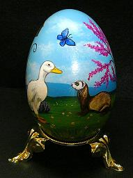 Collectables; Ferret and Duck Real Goose Egg; Pysanky Egg; Stef