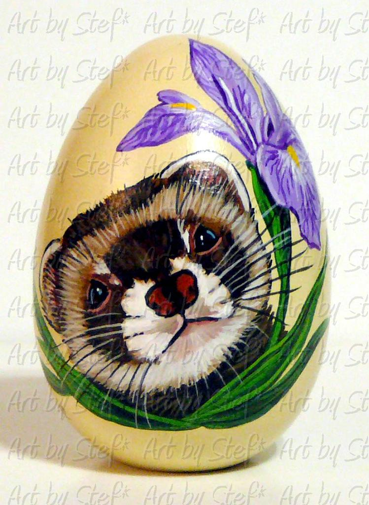 Collectables; Ferret and Iris on Wooden Egg; Pysanky Painted Egg; Stef
