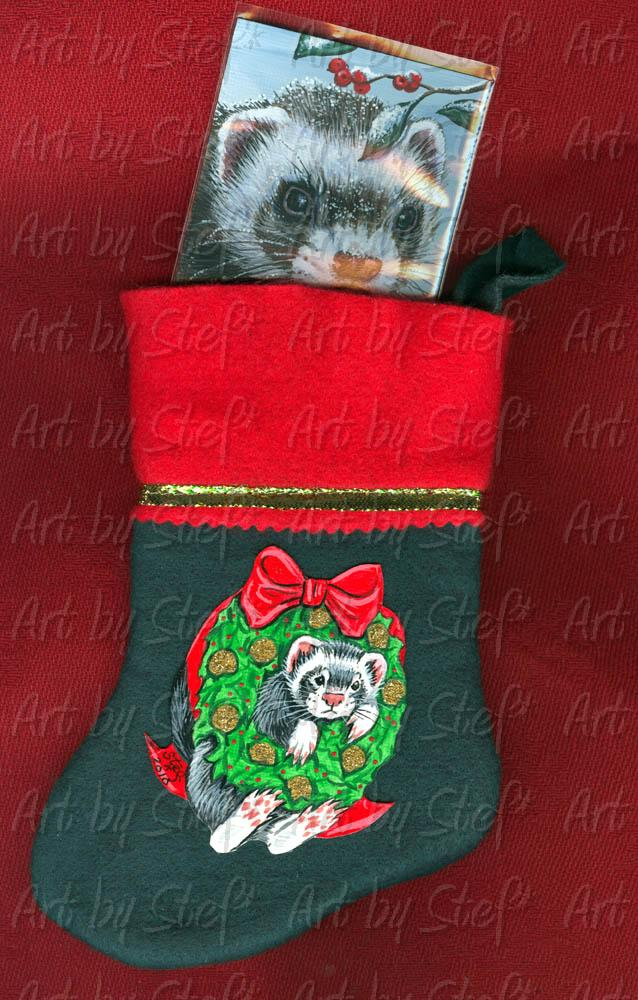 Collectables; Ferret in Wreath; Mini Stocking with Painting; Stef