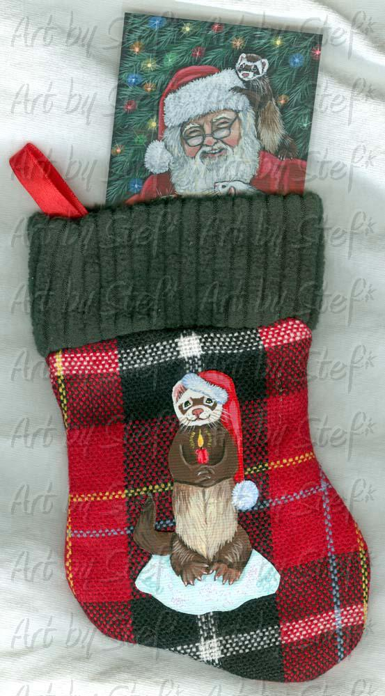 Collectables; Ferret on Plaid Mini Stocking; Applied Acrylic Painting; Stef